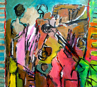 Acrylic Painting by Engelina Zandstra titled: Composition 4049, 2014