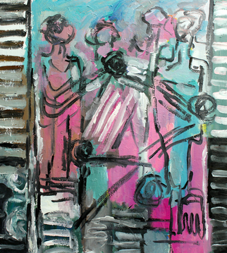 Acrylic Painting by Engelina Zandstra titled: Composition 4050, 2014
