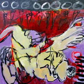 Engelina Zandstra: 'Composition 4553', 2016 Acrylic Painting, Abstract Figurative. Artist Description:                                                                                                                                  I consider my works like music, they dont need words for explanation.The forms and colors composing it are the language of understanding.Each one tells its own tale, that can be different for each person looking at them.                                                                                                                                             landscape  composition  abstract  painting  canvas  modern  original  lyrical  figurative  ...