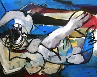 Engelina Zandstra: 'composition 105', 2003 Acrylic Painting, Abstract Figurative. Artist Description: reclining figure ...