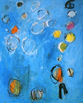 Engelina Zandstra: 'composition 247', 2006 Acrylic Painting, Abstract. blue atmosphere...