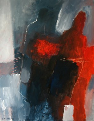 Engelina Zandstra: 'composition 703', 2003 Acrylic Painting, Abstract Figurative. meeting...