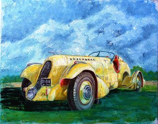 Nina Polunina: 'Duesenberg 1935', 2017 Oil Painting, Automotive. Artist Description: Oil paintingDuesenberg 1935from the seriesAuto retro.  Written in the author s technique.  Oil on stretched canvas.  The canvas is made by hand.  Natural flax is manually primed with natural materials.Many people love portraits.  Their own.  Aliens, people, animals.  And I like portraits of cars, ships, trains.  In ...
