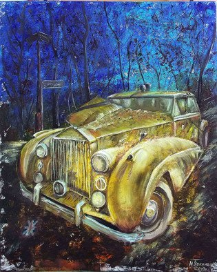 Nina Polunina: 'yellow retro', 2017 Oil Painting, Automotive. Artist Description: Oil paintingYellow retrofrom the seriesAuto retro.  Written in the author s technique.  Oil on stretched canvas.  The canvas is made by hand.  Natural flax is manually primed with natural materialsMany people love portraits.  Their own.  Aliens, people, animals.  And I like portraits of cars, ships, trains.  In ...