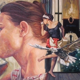 Enrique Monraz: 'la hora del te', 2007 Oil Painting, Figurative. Artist Description:  the maid is drinking a cup of tea ...