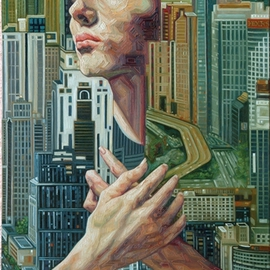 Enrique Monraz: 'metropoli', 2007 Oil Painting, Figurative. Artist Description:  the soul emerges from a big city ...