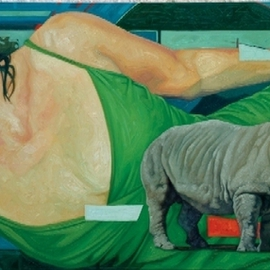 Enrique Monraz: 'rinocerus', 2007 Oil Painting, Figurative. Artist Description: la ciudad de la furia...