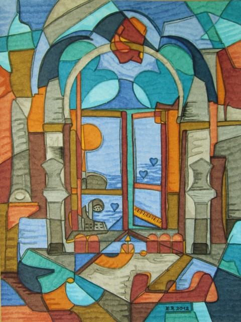 Erika Rickenbacher - Era Rika  'Window To The Souvenirs', created in 2012, Original Painting Ink.