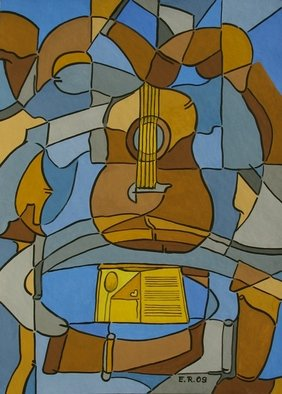 Erika Rickenbacher - Era Rika: 'with the chant of the guitar', 2009 Gouache Drawing, Music. Artist Description: Original title:Au chant de la guitarre...