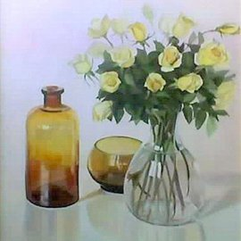 Maria Teresa Fernandes: 'APBA Collection', 1983 Oil Painting, Floral. Artist Description: different glass thickness have to be shown, in spite of the challenge against a clear basis ( this painting won Corauto Prize at Araras ) ...