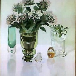 Maria Teresa Fernandes: 'A Guizellini Collection', 1984 Oil Painting, Floral. Artist Description:  stalks have to be inside the convex vase ...
