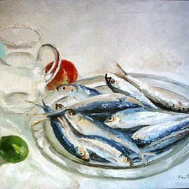 Maria Teresa Fernandes: 'Alves Collection', 1969 Oil Painting, Fish. Artist Description: fish scales are full of reflections and laborious dedication...