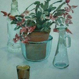 Maria Teresa Fernandes: 'Alves Collection', 1996 Oil Painting, Floral. Artist Description:  diverse objects to be depicted well transparent are a real challenge when over a clear background ...