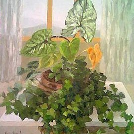 Maria Teresa Fernandes: 'Alves Collection', 1973 Oil Painting, Botanical. Artist Description:  in a green explosion we have to workwell with the hues and shades to get plans and dimensions ...