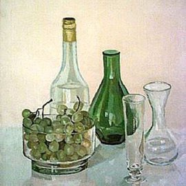 Maria Teresa Fernandes: 'Alves Collection', 1987 Oil Painting, Food. Artist Description:  each grape has its propper colours and shades, not a rubber stamp painting. Inside the glass is much more difficult ...