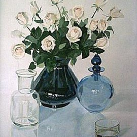 Maria Teresa Fernandes: 'Alves Collection', 1981 Oil Painting, Floral. Artist Description:  different glasses enhance the hard task to paint convex shapes on a clear background ( this painting won a Silver Medal at Limeira and a Bronze Medal at Assis ) ...