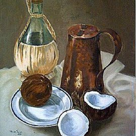 Maria Teresa Fernandes: 'Alves Collection', 1967 Oil Painting, Still Life. Artist Description:  concave in white colour is a good challenge ...