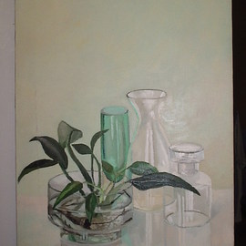Maria Teresa Fernandes: 'Aquatic plant', 1980 Oil Painting, Floral. Artist Description:  glass refractions alone are a barrier.If you add a plant in the water, means lots of extra work. . . ...
