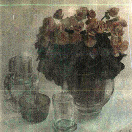 Maria Teresa Fernandes: 'Balzi Asprino collection', 1995 Oil Painting, Floral. Artist Description: transparent glass in a clear background is not painter's heaven...