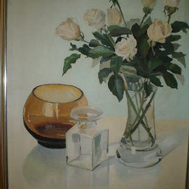 Maria Teresa Fernandes: 'Bechara  Collection', 1982 Oil Painting, Floral. Artist Description: each petal an individual study, not a rubber stamp painting...