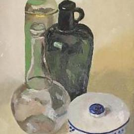 Maria Teresa Fernandes: 'Bednart Collection', 1968 Oil Painting, Still Life. Artist Description:  green is an atractive colour sincethat hues do not scream ...