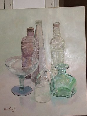 Maria Teresa Fernandes: 'Bell and bottles', 1996 Oil Painting, Communication.  each item is a world of hidden possibilities and hard work.  ...