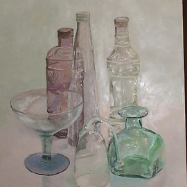 Maria Teresa Fernandes: 'Bell and bottles', 1996 Oil Painting, Communication. Artist Description:  each item is a world of hidden possibilities and hard work.  ...