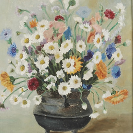 Maria Teresa Fernandes: 'Bia Boff Collection', 1968 Oil Painting, Floral. Artist Description: handcraft in every single petal to give dimensions, thru hues, shades and lots of work...