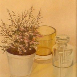 Maria Teresa Fernandes: 'CRC Collection', 1982 Oil Painting, Floral. Artist Description:  dimensions and transparent glasses on a clear background are a respectful attainment ...