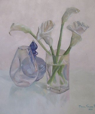Maria Teresa Fernandes: 'Callas and blue', 1995 Oil Painting, Optical.  clear shades over a white surface are quite difficult to get mainly with glass refractions ...