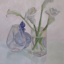 Maria Teresa Fernandes: 'Callas and blue', 1995 Oil Painting, Optical. Artist Description:  clear shades over a white surface are quite difficult to get mainly with glass refractions ...