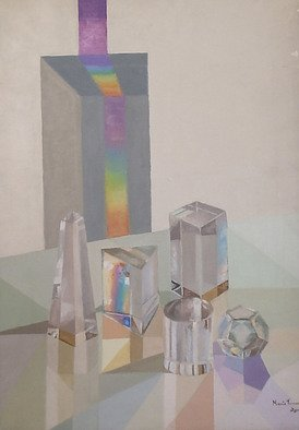 Maria Teresa Fernandes: 'Cordeiro Maronari Collection', 1974 Oil Painting, Science. Artist Description:  sometimes artists create a labyrinth. . . got to solve it. And then the decisions of dozens of possible hues. glass against a clear background is a big challenge to any painter ...