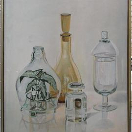 Maria Teresa Fernandes: 'FAAP Brazilian Art Museum Collection', 1980 Oil Painting, Optical. Artist Description: reflexes through other glass objects over a clear background few artists usually do it ( this painting had won a Grand Silver Medal at Itu ) ...