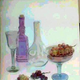 Maria Teresa Fernandes: 'FIGUEIREDO cOLLECTION', 1996 Oil Painting, Food. Artist Description: various hues and transparent objects require a lot of work...