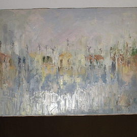 Maria Teresa Fernandes Artwork Fading Pissarro houses, 1973 Oil Painting, Abstract Landscape