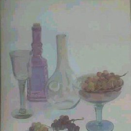 Maria Teresa Fernandes: 'Figueiredo Collection', 1996 Oil Painting, Food. Artist Description: various hues and transparent objectsrequire a lot of work...