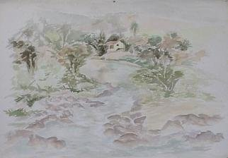 Maria Teresa Fernandes Artwork Fluent stream, 1973 Watercolor, Farm Life