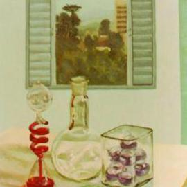 Maria Teresa Fernandes: 'Franca Museum', 1973 Oil Painting, Interior. Artist Description: different plans get a difficulty when you include transparent glass...