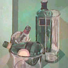 Maria Teresa Fernandes: 'Glassy green bottles', 1974 Oil Painting, Transportation. Artist Description: glass inside glass increases difficulties  ( due to age this painting has a small stain upper left and a white dot over red label bottle) ....