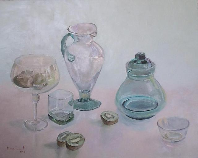 Maria Teresa Fernandes  'Glassy Greens And Kiwi', created in 1995, Original Drawing Pencil.