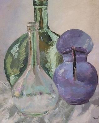 Maria Teresa Fernandes: 'Grades of glass', 1968 Oil Painting, Optical. usually artists do not place a bottle in front of another one because it is muchmore difficult to paint...