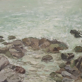 Maria Teresa Fernandes: 'Guaruja', 1981 Oil Painting, Seascape. Artist Description: constantly moving foam and waves result in a big difficulty to paint them...