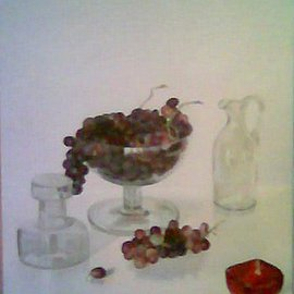 Maria Teresa Fernandes: 'Guizellini  Collection', 1981 Oil Painting, Food. Artist Description:  each plan has to be detached from the clear background, much more difficult than from a dark one. ...