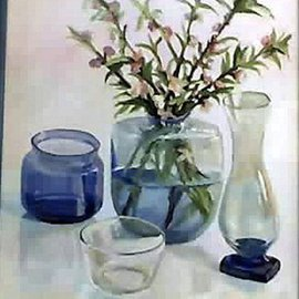 Maria Teresa Fernandes: 'Kherlakian Zadikian Collection', 1995 Oil Painting, Floral. Artist Description:  convexes, stalks in water, transparent objects, clear background. Very hard to get. ...
