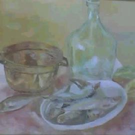 Maria Teresa Fernandes: 'Lerro Collection', 1967 Oil Painting, Fish. Artist Description: two difficulties - fish reflections and transparent glass...
