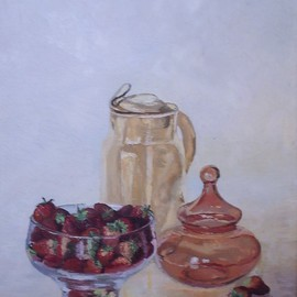 Maria Teresa Fernandes: 'Lerro  Collection', 1976 Oil Painting, Food. Artist Description:  fruits have to be inside the bowl and glass objects have to be convex and transparents ...