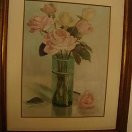 Maria Teresa Fernandes: 'Lerro  Collection', 1973 Oil Painting, Floral. Artist Description:  few objects and roses to give a delicateair ...