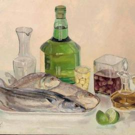 Maria Teresa Fernandes: 'MARGS  Museum  Collection', 1979 Oil Painting, Fish. Artist Description:  fish scales are reflexive. Transparent glass  i s  transparent - barriers to overcome ...