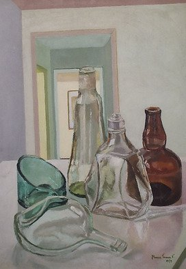 Maria Teresa Fernandes: 'M Zelia Collection', 1973 Oil Painting, Technology. Artist Description:  not happy with one difficulty the artistuses several bottles to increase skillsneedes for the work   glass against a clear background is a big challenge to any painter                            ...