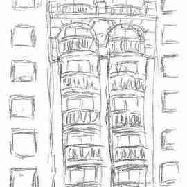 Maria Teresa Fernandes Artwork Marriot from my window by ebf, 2006 Other Drawing, Cityscape